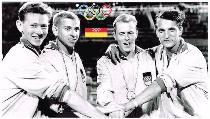 Sie starteten vor 60 Jahren bei den olympischen Spielen in Rom: (v.li.) Startläufer Bernd Cullmann, Gegengerade Armin Hary, Kurvenläufer Walter Mahlendorf und Schlussläufer Martin Lauer. Am Ende freuten sie sich über olympisches Gold.